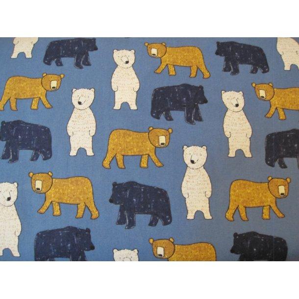 Fast bomuld, Hyggelige bjørne i flere farver, blå bund