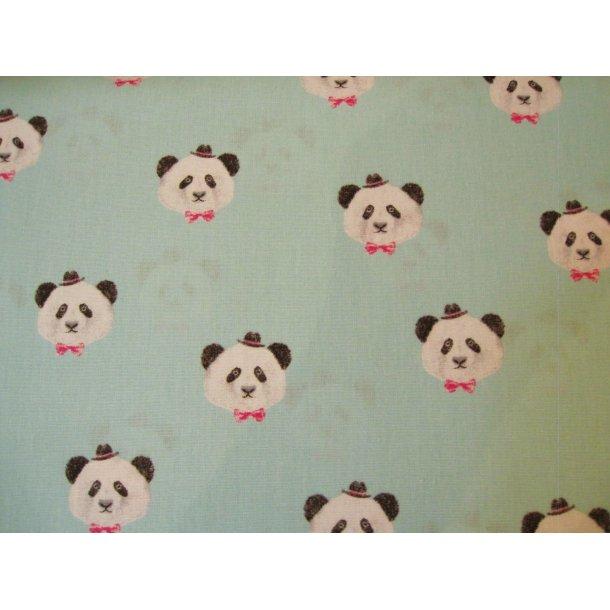 Fast bomuld, Skønne panda hoveder m. lille hat, blå/grøn bund
