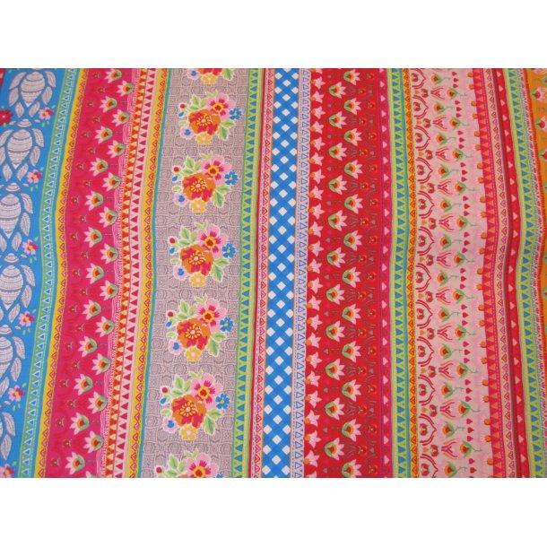 Fast bomuld, Mange farvede striber på langs, rød/lysrød/turkis/grøn og hvid