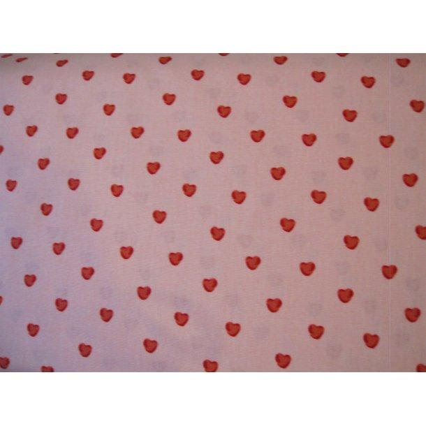 Fast bomuld, Små røde hjerter, lysrød bund