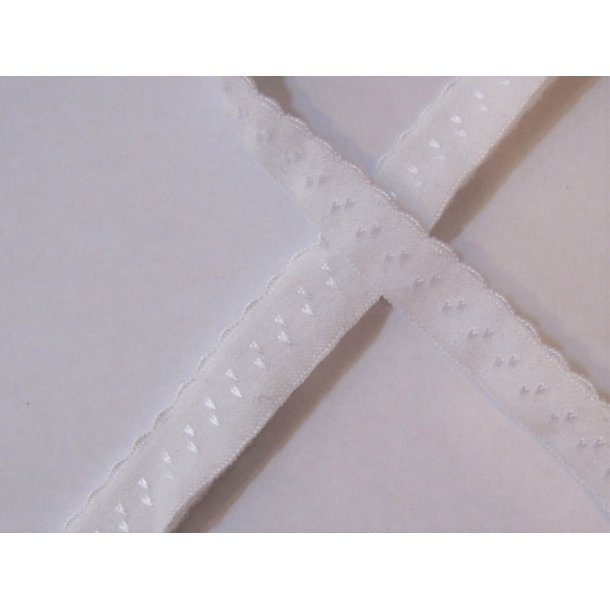 Folde elastik, 1 cm hvid, fv. 1
