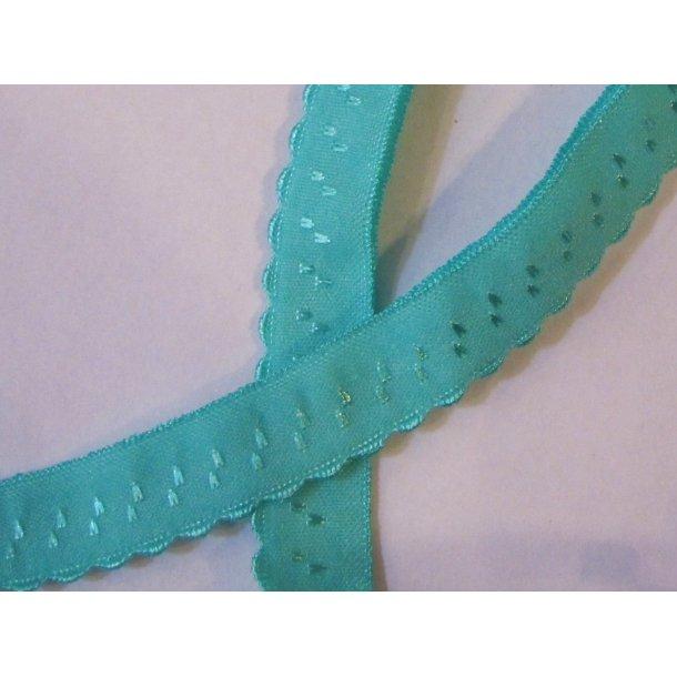 Folde elastik, 1 cm mørk mint fv 8