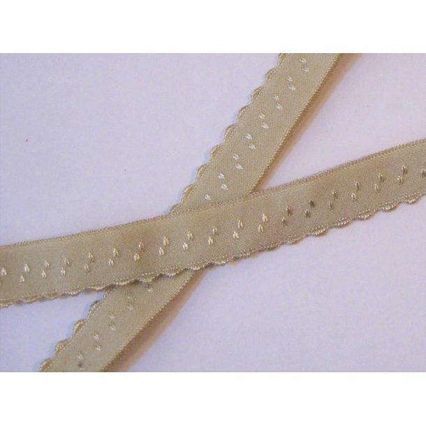 Folde elastik, 1 cm lys sand, fv. 14