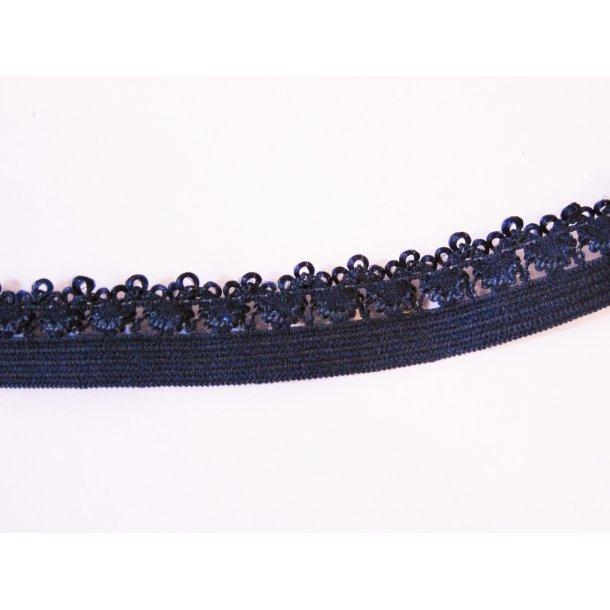 Blonde elastik, 1,4 cm mørk blå, fv. 318