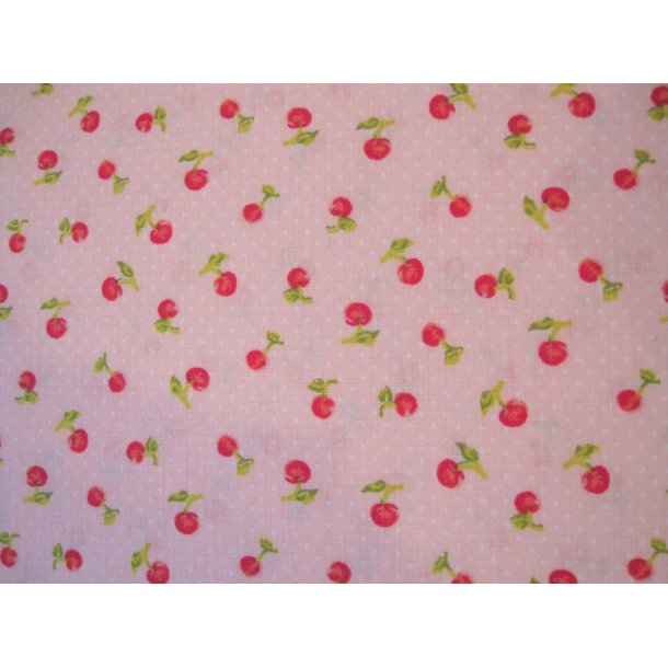 Fast bomuld, Søde små kirsebær, lys rød bund m. hvid mini prik