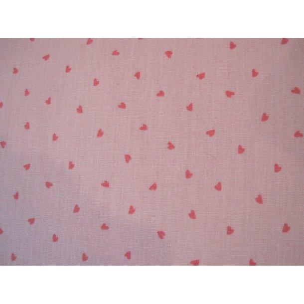 Fast bomuld, Mini røde hjerter, rosa bund