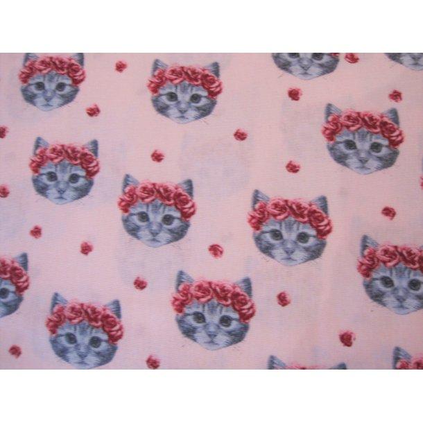 Fast bomuld, Sød grå kattekilling m. rosenkrans, lys rød bund