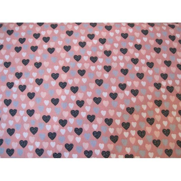 Fast bomuld, Mange små hjerter, grå/hvid/lys rød og lys grå, lys rød bund