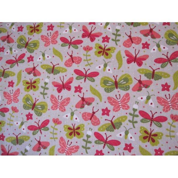 Fast bomuld, Grøn/rosa/hvid sommerfugle, lys grå bund