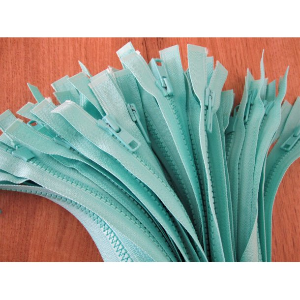 Lynlås plastik, Mint grøn 62 cm grov delbar