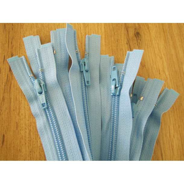 Lynlås plastik, Lysblå 50 cm fin delbar