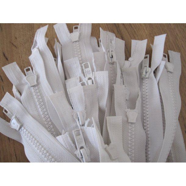 Lynlås plastik, Hvid 45 cm grov delbar