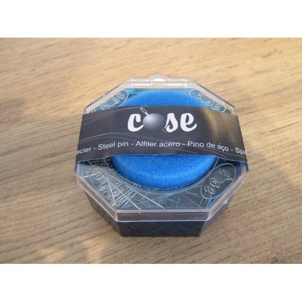 Knappenåle blå æske m. pude