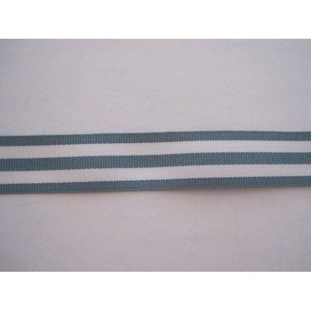 Bånd fast, 3 støvet grå/grøn og 2 hvide strib, pr. m.