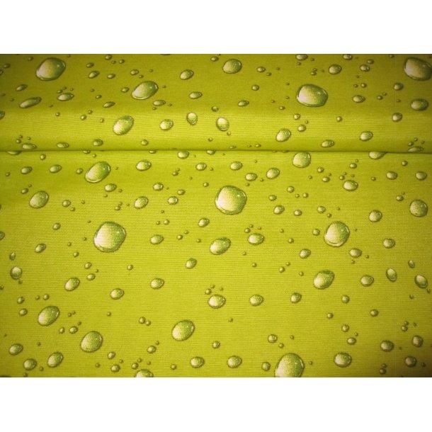 Fast bomuld lærred, vanddråber, grøn bund