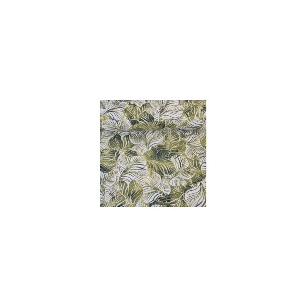 Fast bomuld lærred, grønne/hvid blade i massevis