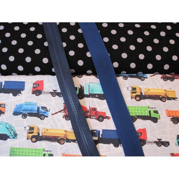 Bumbag pk. Smal babyfløjl 1 cm grå prik sort bund, lastbiler, grå lyn/blå gjord