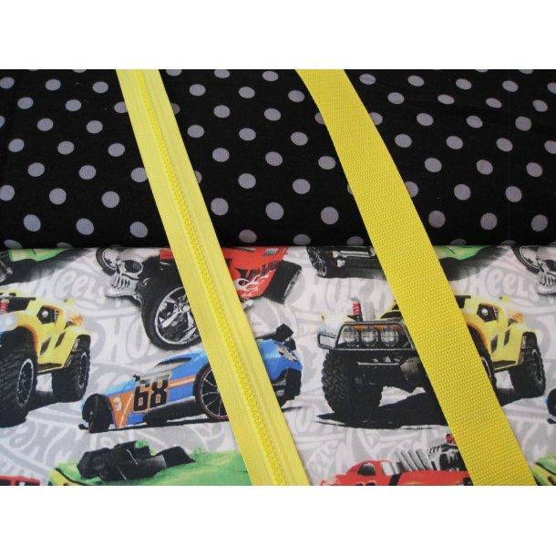 Bumbag pk. Smal babyfløjl 1 cm grå prik sort bund, racerbiler, gul lyn/gjord