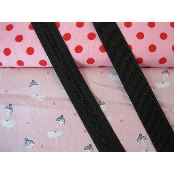 Bumbag pk. Babyfløjl lyserød m. røde prikker, blomster ballerina lyserød bund, sort lyn/gjord
