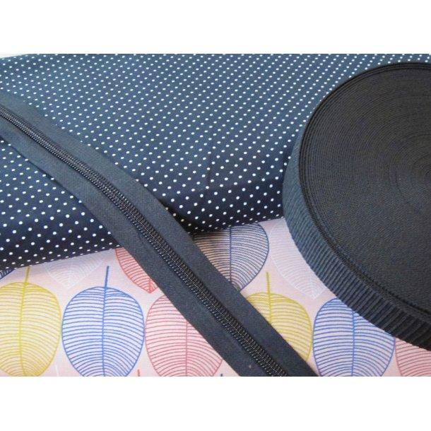 Bumbag pk. Kraftig bomuld blade i flere farver lyserød bund, miniprik sort bund, sort lyn/gjord