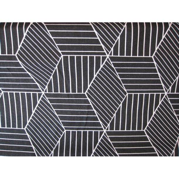 Fast bomuld lærred, Hvid stregtegnet kube, sort bund