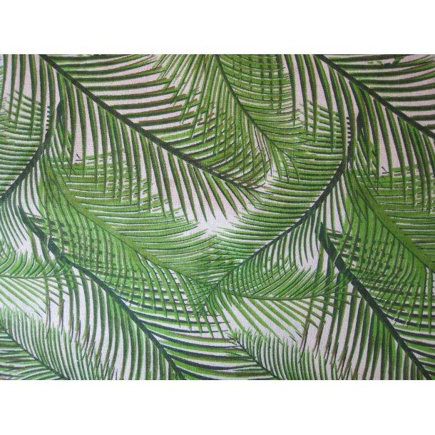 Fast bomuld lærred, Grønne palme blade, hvid bund
