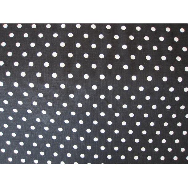 Fast bomuld lærred, Hvide prikker 0,7 cm, sort bund