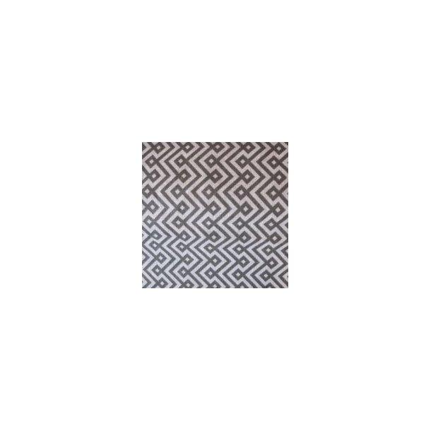 Fast bomuld lærred, Koksgrå/lysgrå zigzag mønster