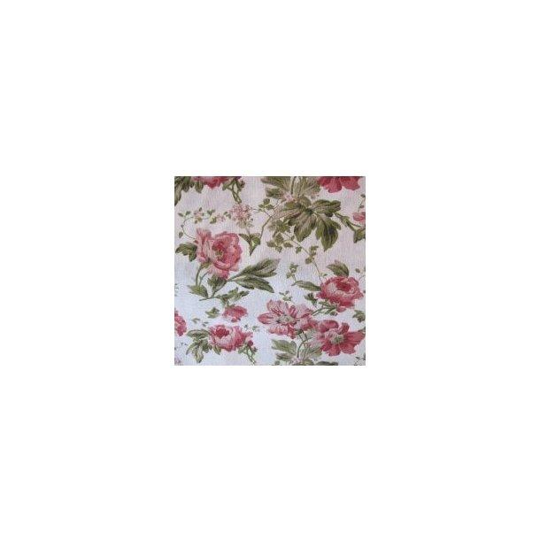 Fast bomuld lærred, Lyserøde roser, hvid bund