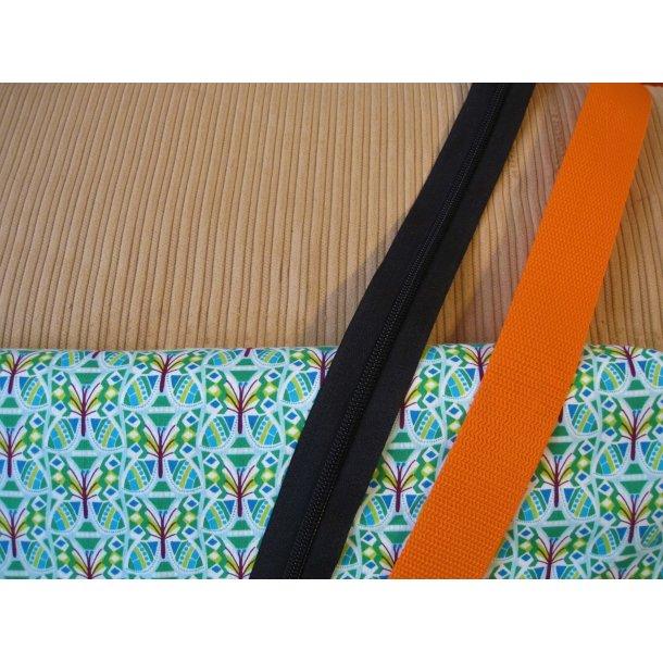 Bumbag pk. Brun bred fløjl, retro blomst grøn/bord./turkis, sort lyn/orange gjord
