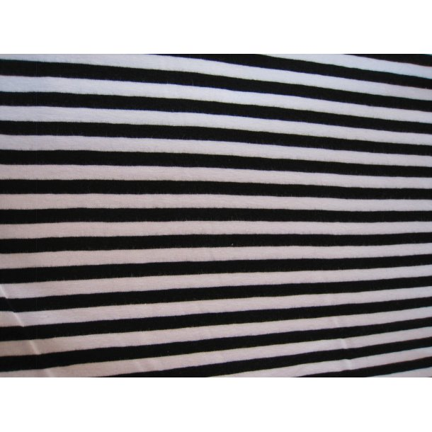 Jersey strib, Sort/hvid 7 mm