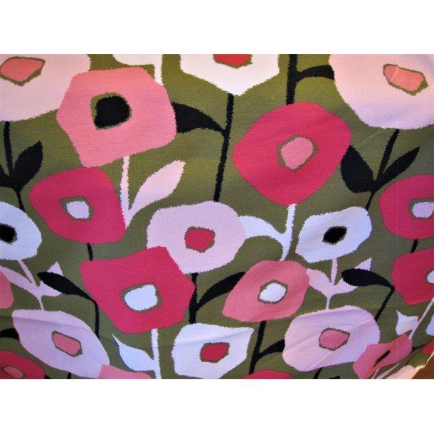 Jersey, lyserøde/pink tegnede blomster, army bund