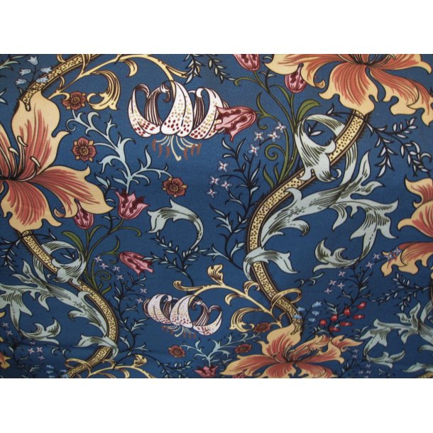Jersey Digital,  snerle liljer, støvet blå bund