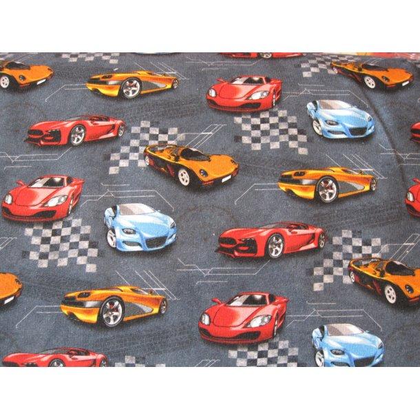 French Terry, Racer biler på banen, grå bund