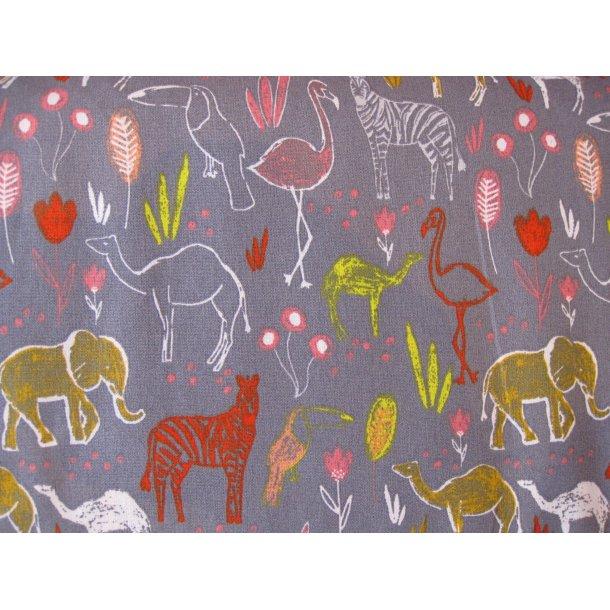Fast bomuld, zebra, flamingo, elefant, tukan og kamel, grå bund