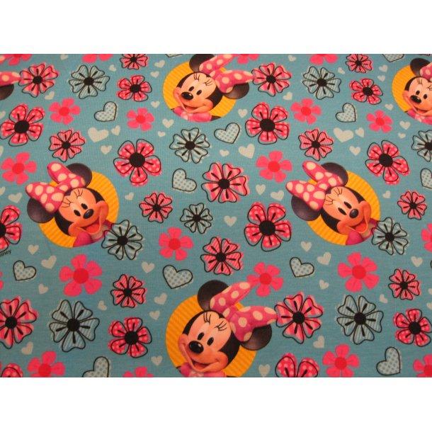 Jersey digital, Skønne Minnie m. hjerter og blomster, blå bund
