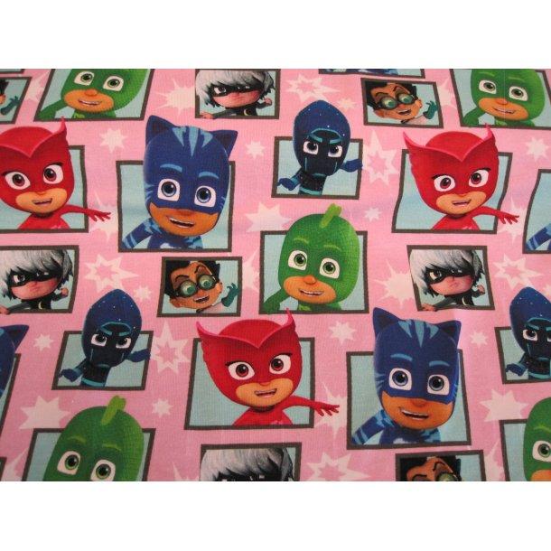 Jersey digital, pyjamashelte, lyserød bund