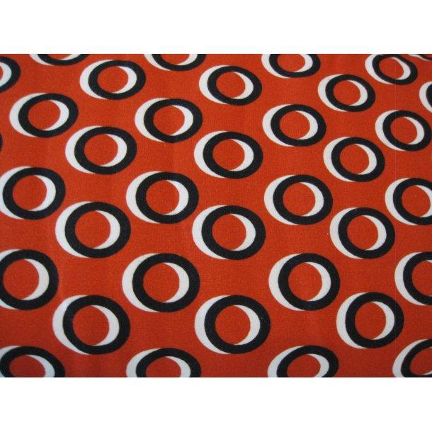 Jersey, 3d sort/hvid cirkler, rust rød bund