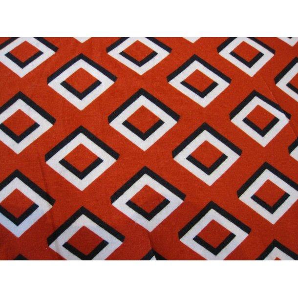 Jersey, 3d hvid/sort firkanter, rust rød bund