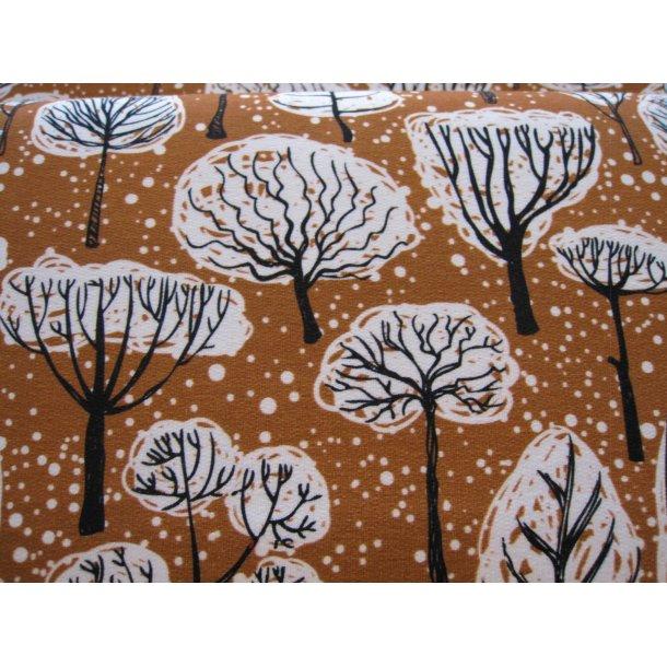 French Terry, Efterårs træerne, brun bund