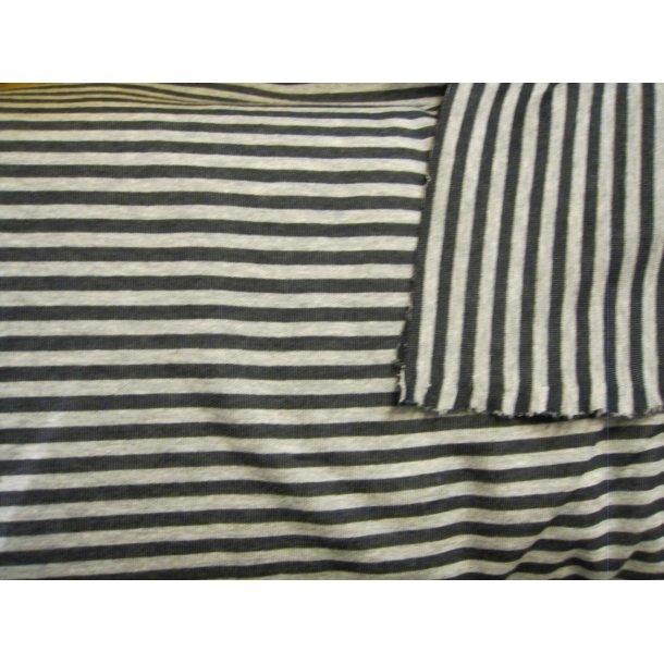 Jersey strib, lysgrå/koksgrå 7 mm strib
