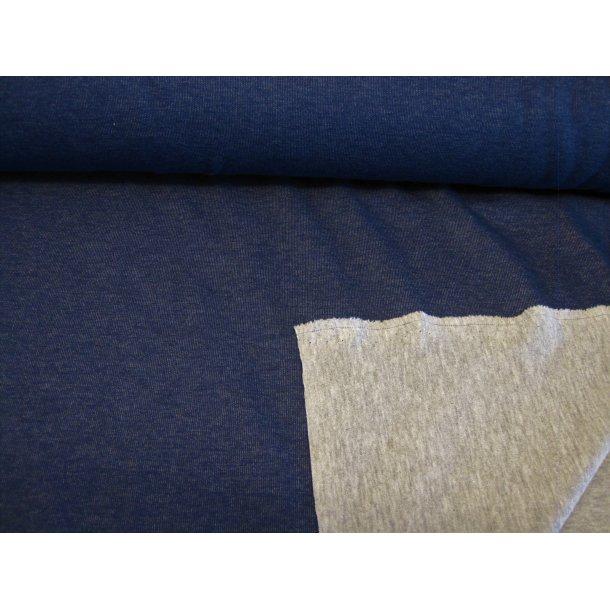 Jacquard, blå m. lys grå bagside