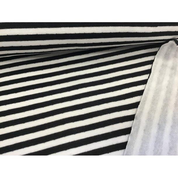 Jersey strib, 7 mm sort/hvid strib, super blød, m. dobbelt side