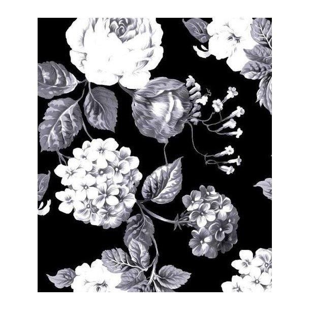 Jersey digital, hvide/grå roser, sort bund