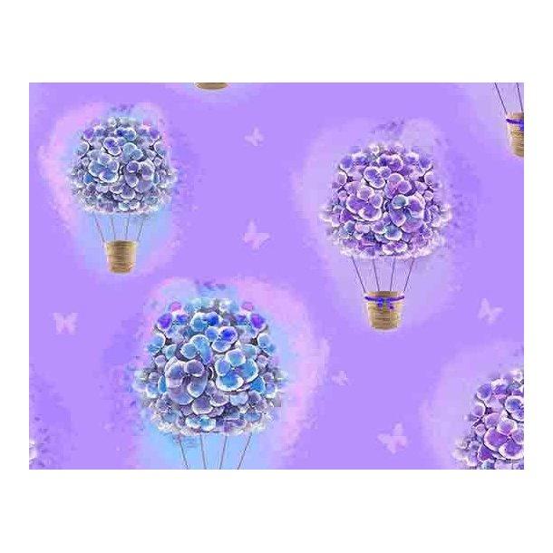Jersey digital, blå/lilla syrener som luftballon og små sommerfugle, blå/lilla bund