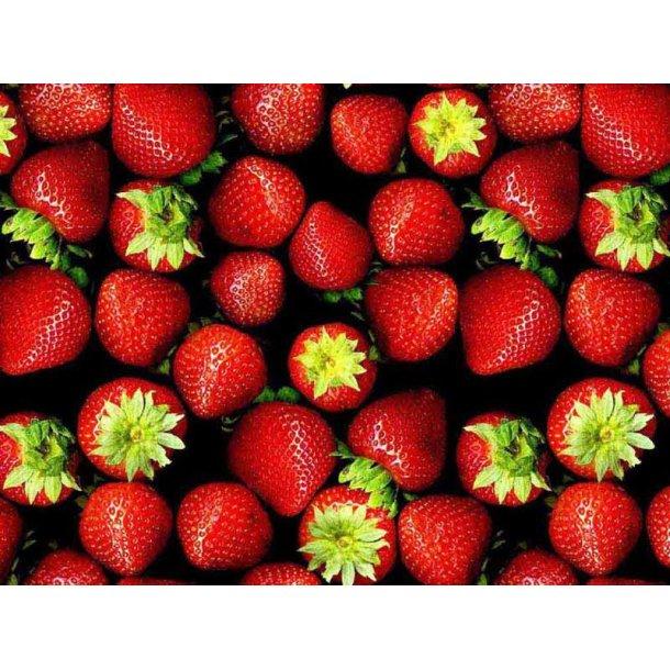 Jersey digital, hmmm sommer jordbær, sort bund