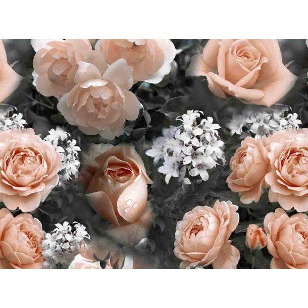 Jersey digital, laksefarvede roser m. hvide små blomster, grå bund