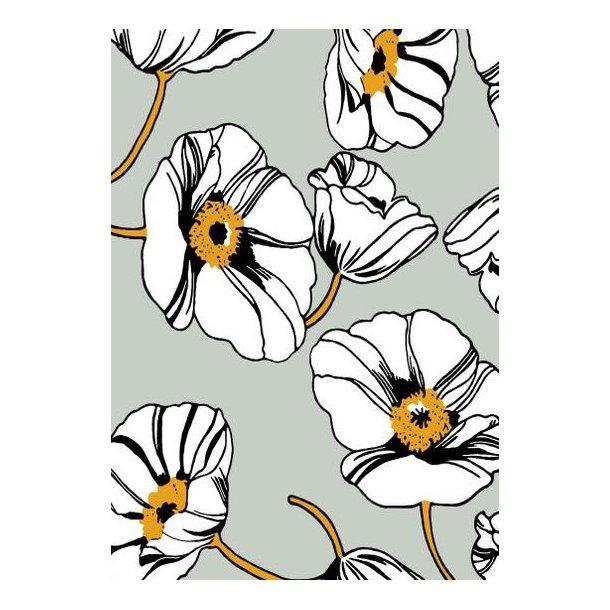 Jersey digital, hvid snerle blomst, lysegrå bund