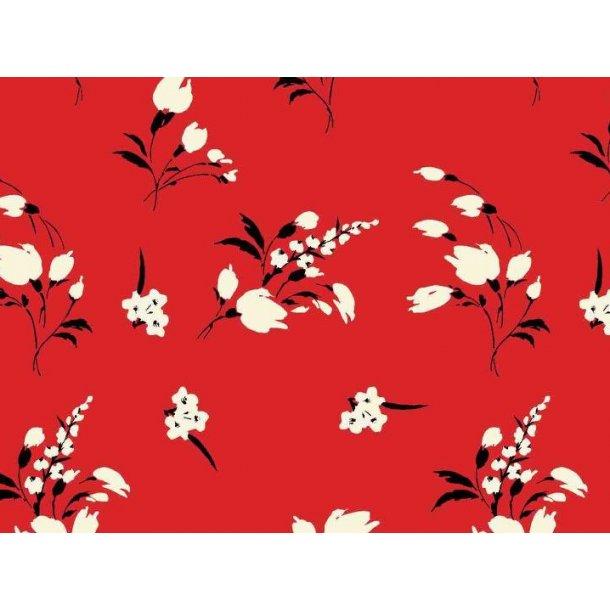 Jersey digital, hvid kornblomster buket, rød bund