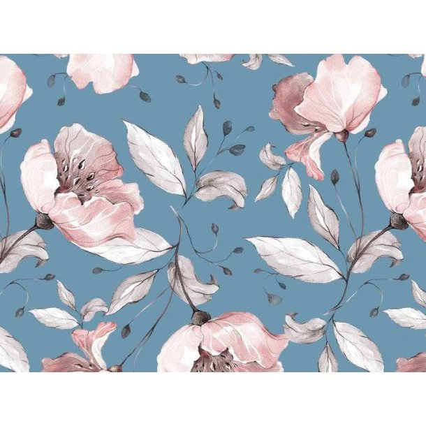 Jersey digital, lys gammel rosa tegnet blomst, lys blå bund